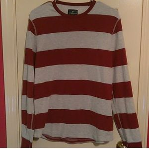 American Eagle Red & Gray Striped Thermal Sweater